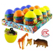 image of [FSC] Beardy Lucky Egg Animal Safari Toy With Candy 12pieces