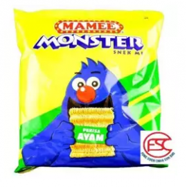 image of Mamee Monster Snek Mi Party pack 25gm x 8 pieces (chicken Flavours)