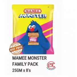 image of [FSC] Mamee Monster Snek Mi Party Pack 25gm x 8 pieces Bbq Flavours