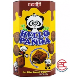 image of Meiji Hello Panda biscuits 43gm x 10boxes Doubles Choco Flavours