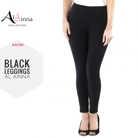 image of BLACK LEGGINGS WOMEN AL AINNA AAC80 // READY STOCK SLIM FIT COTTON HOT SELLER