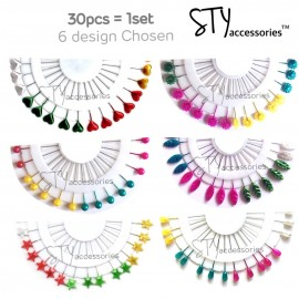 image of Ida 30pcs Colourful Pin Shawl Tudung Hijab Pin Jarum Peniti Hijab Pins Tudung pin Muslim Hijab Scarf Pins Scarf Clip