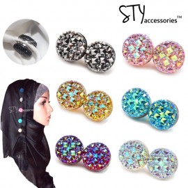 image of Irene Magnetic Hijab Brooch Pin Tudung Round Headscarf Abaya Clasp Shawl Scarf