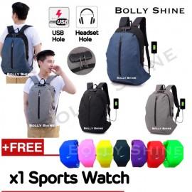 image of Beckham Laptop Backpack Bag with Headphone Plug Hole and Combination Lock