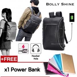 image of Bruce Leather USB Laptop Bag Headset Hole Unisex Men Women Backpack Beg Bags