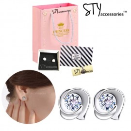 image of Eberta 925 Silver Plated White Gold Earing Studs Anting Birthday Gift