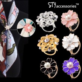 image of Sabrina Scarves Ring Scarf Buckle Flower Pearl