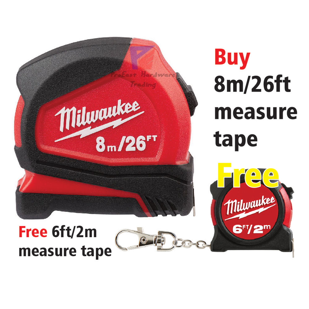 Milwaukee 8 m/26 ft Compact Tape Measure - FREE one (6ft/2m) measure tape