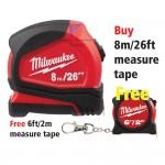 Milwaukee 8 m/26 ft Compact Tape Measure - FREE one (6ft/2m) measure tape