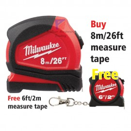 image of Milwaukee 8 m/26 ft Compact Tape Measure - FREE one (6ft/2m) measure tape