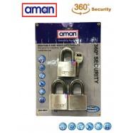 image of AMAN-304-5003 H/D Stainless Steel Padlock (3 Lock+5 Key)