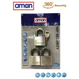 image of AMAN-304-5003 H/D Stainless Steel Padlock (3 Lock+5 Key)