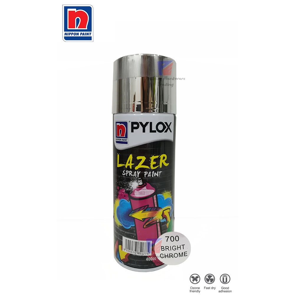 NIPPON PYLOX LAZER SPRAY PAINT (700-BRIGHT CHROME) - 400cc