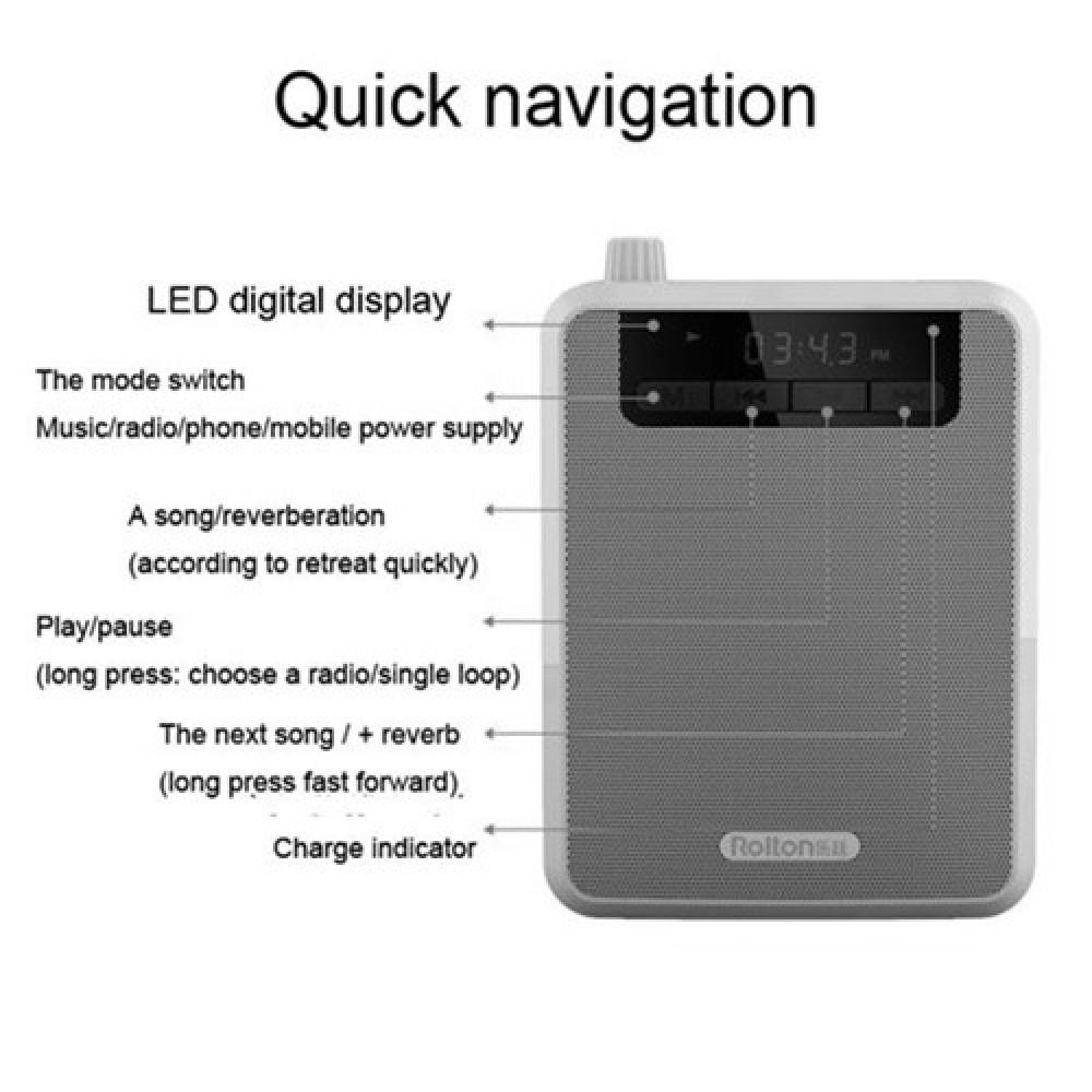 Rolton K300 Portable Tour Guides Waistband Loud Speaker