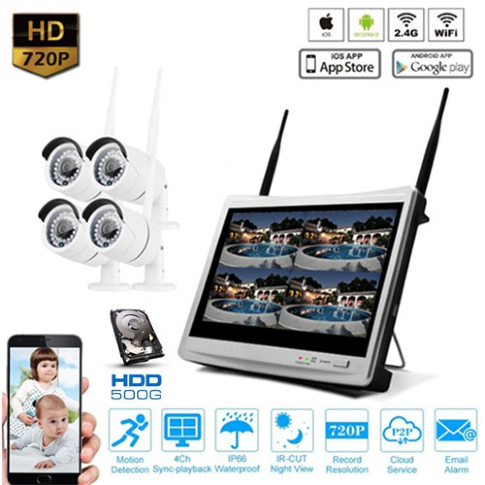 """IpPro 4CH 12"""" LCD WIFI Security Wireless Camera CCTV NVR System"""