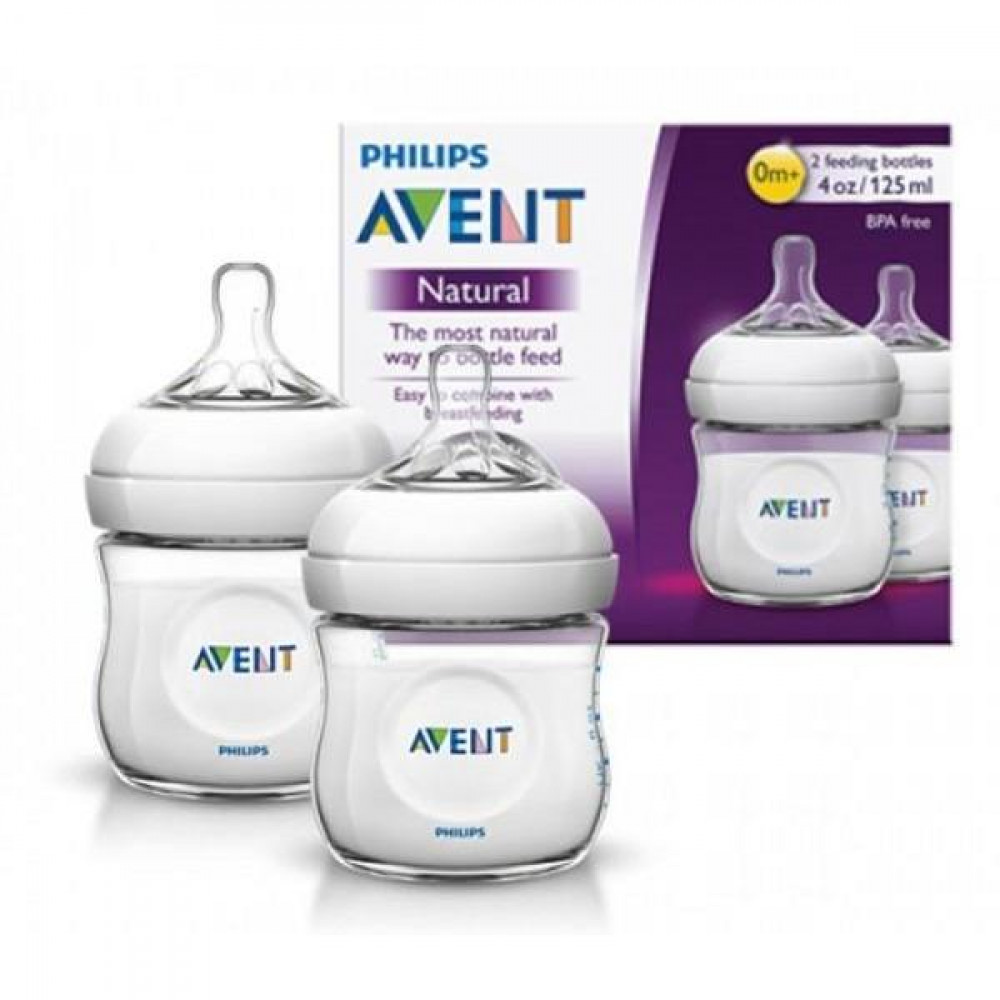 AVENT NATURAL TWIN FEEDING BOTTLE 125ML/4 OZ-WHITE