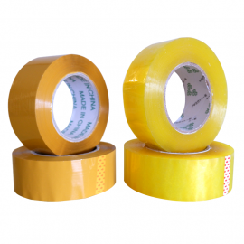 image of Packing Transparent and Yellow Opp Sealing Tape 5 cm Width X 3 cm Thick
