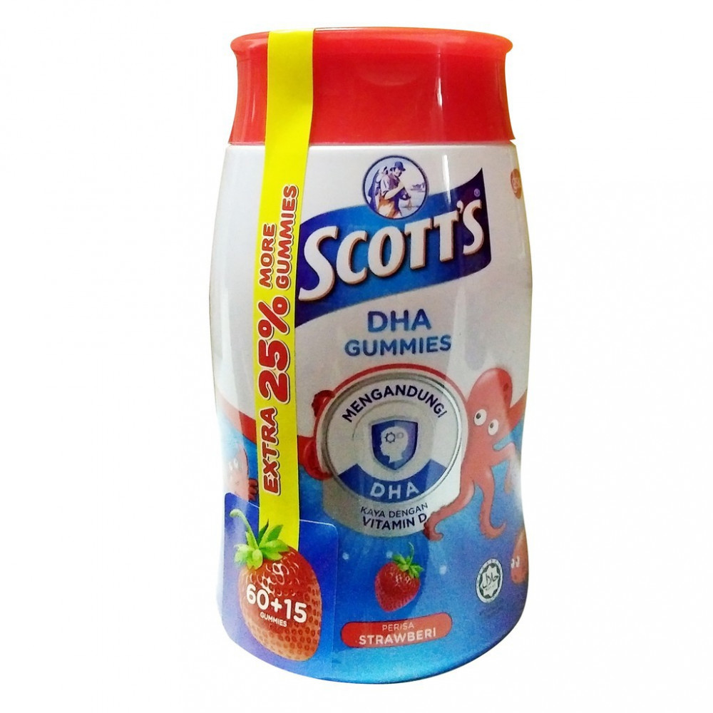 Scott's DHA Gummies Strawberry/orange extra 25% (60+15s)