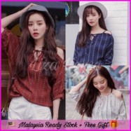 image of (MY Ready Stock) Korean Cut Off Shoulder top LH14