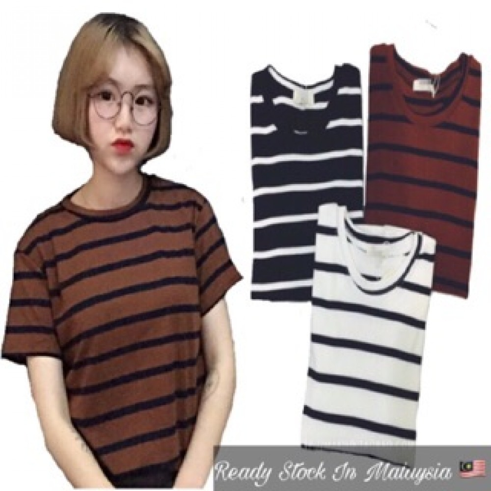 (MY Ready Stock) Korean Stripe Tee Batch 1 LH06