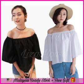 image of (MY Ready Stock) Off The Shoulder Loose Blouse Batch 1 LH09
