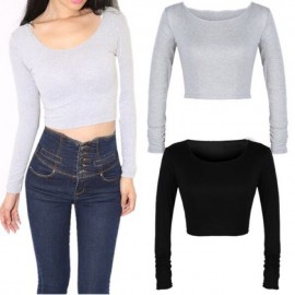 image of (My Ready Stock) Long Sleeve Crop Top LH47