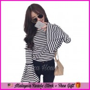 image of (MY Ready Stock) Stripe Trumpet Sleeve Top LH56