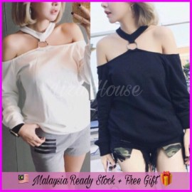 image of (MY Ready Stock) Off Shoulder Halter Top LH37
