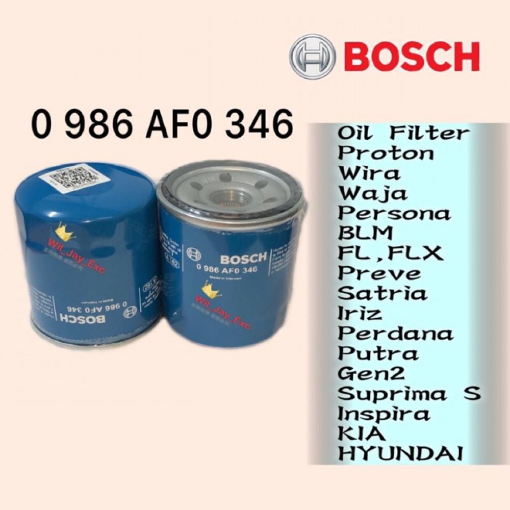BOSCH OIL FILTER 346 PROTON WIRA,WAJA,PERSONA,BLM,FL,FLX,IRIZ,PREVE,SATRIA,PUTRA,INSPIRA,S