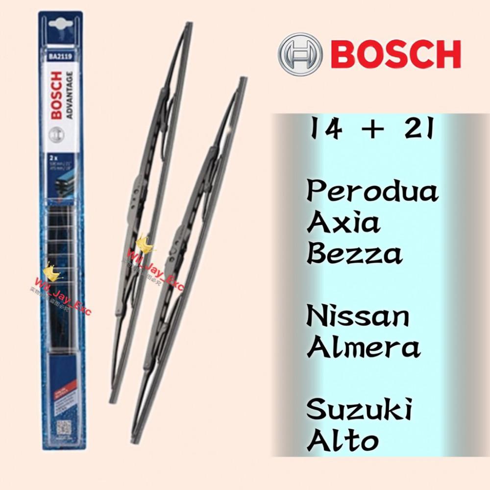 BOSCH WIPER ADVANTAGE WIPER BLADE 14 + 21 AXIA,BEZZA,ALMERA,ALTO