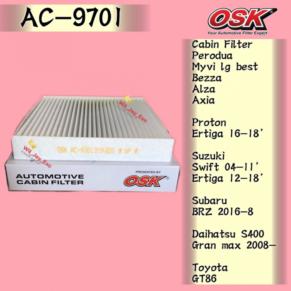 OSK AC-9701 CABIN FILTER MYVI LAGI BEST,BEZZA,AXIA,ALZA,SWIFT,ERTIGA, SUBARU BRZ,TOYOTA GT