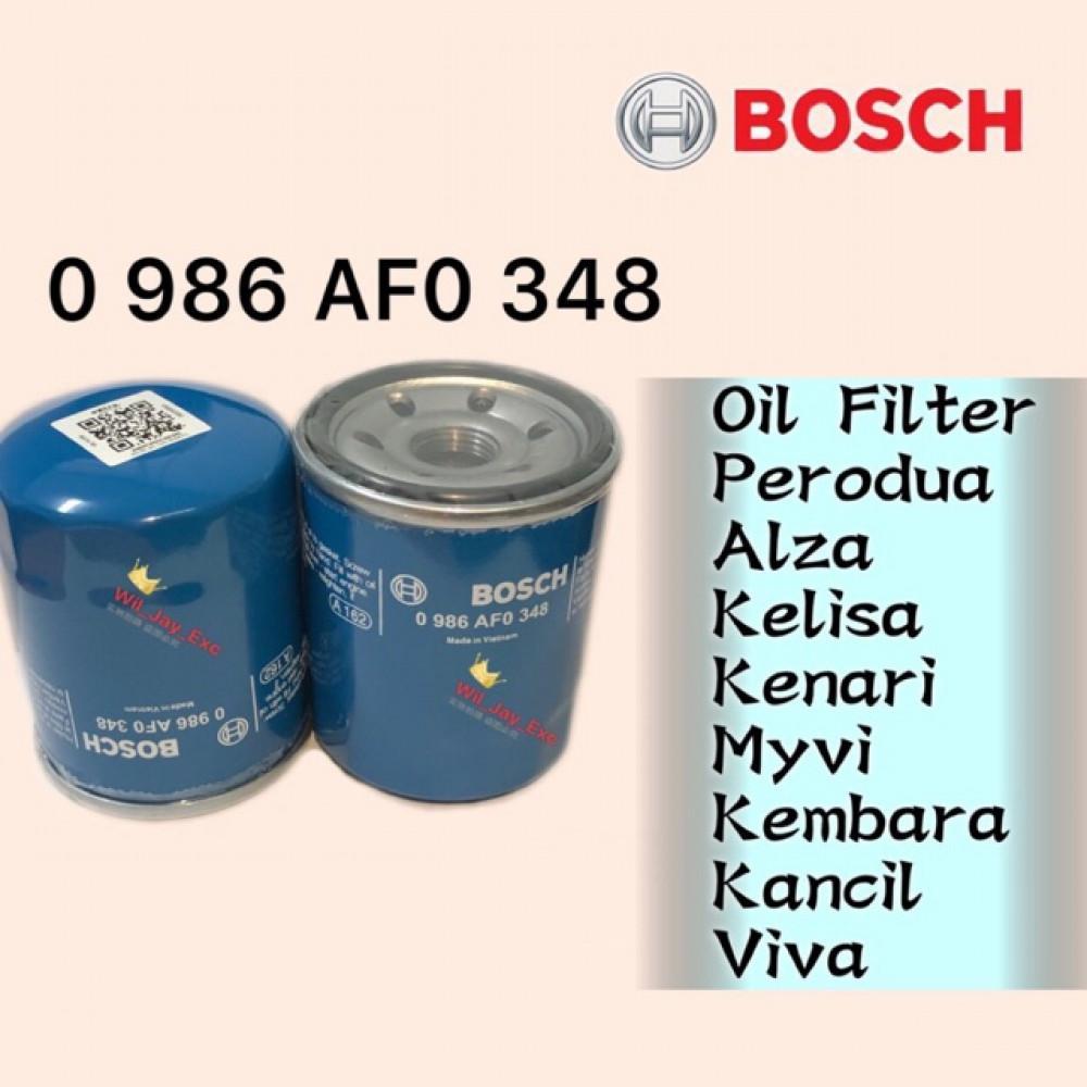 BOSCH OIL FILTER 348 PERODUA ALZA ,KELISA, KENARI ,KEMBARA, KANCIL, MYVI,VIVA