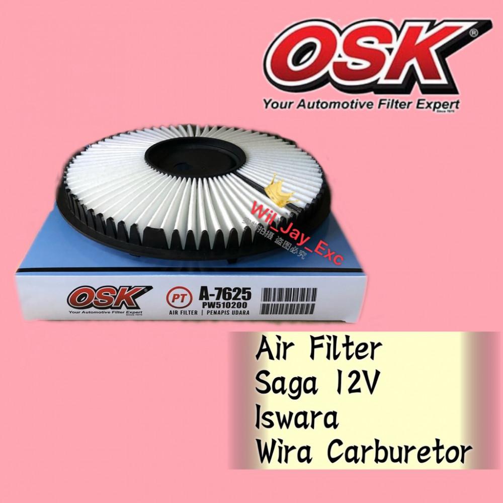 OSK AIR FILTER A-7625 SAGA 12V,ISWARA, WIRA CARBURETOR (MD620508)