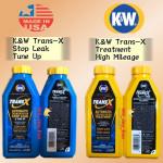 K&W TRANS-X STOP LEAK 443ML ATF & TRAN X TREATMENT 473ML 75K HIGH MILEAGE KW