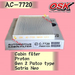 OSK CABIN FILTER AC-7720 PROTON GEN2 GEN 2 PATCO TYPE,SATRIA NEO PATCO AIRCOND FILTER