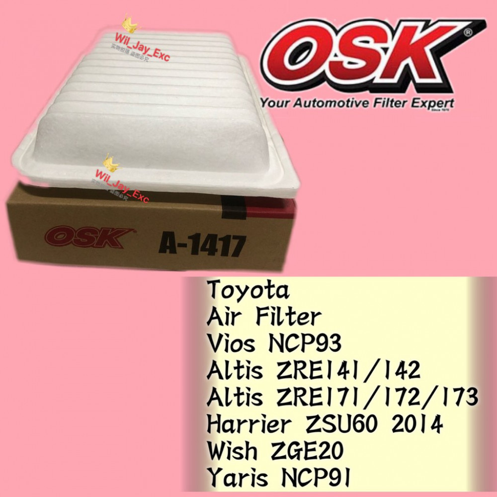 OSK TOYOTA VIOS NCP93 , ALTIS, HARRIER, WISH, YARIS AIR FILTER A-1417