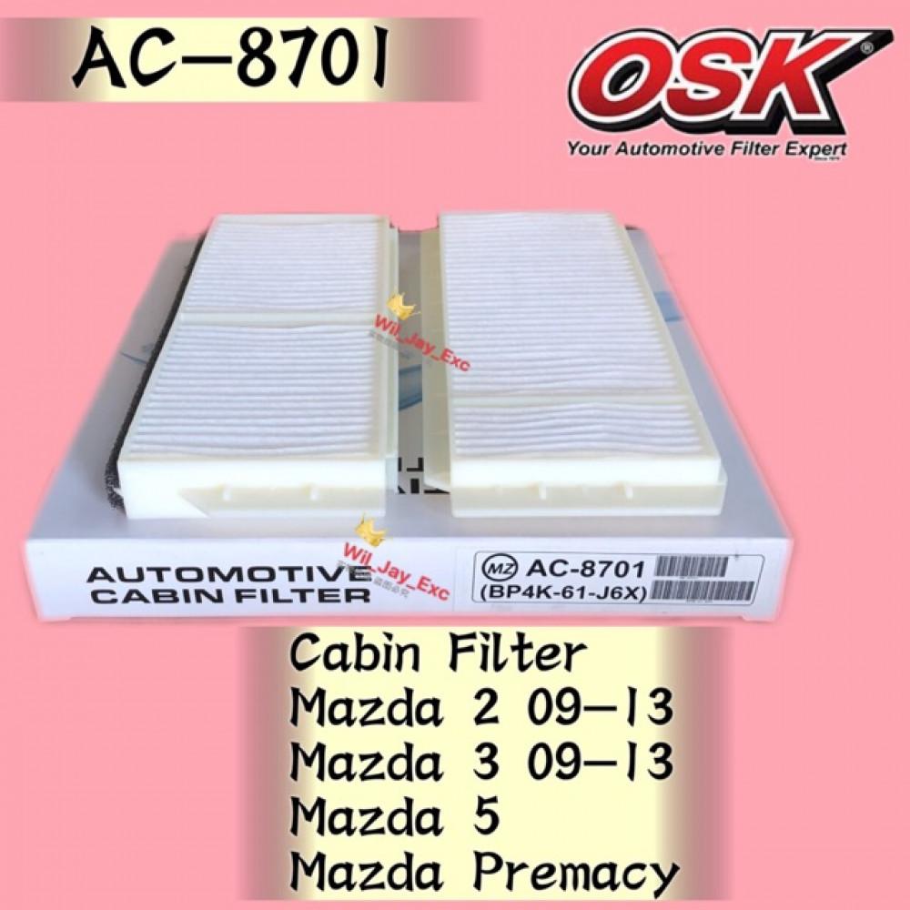 OSK CABIN FILTER AC-8701 MAZDA 2, MAZDA 3, MAZDA 5, MAZDA PREMACY AIRCOND FILTER