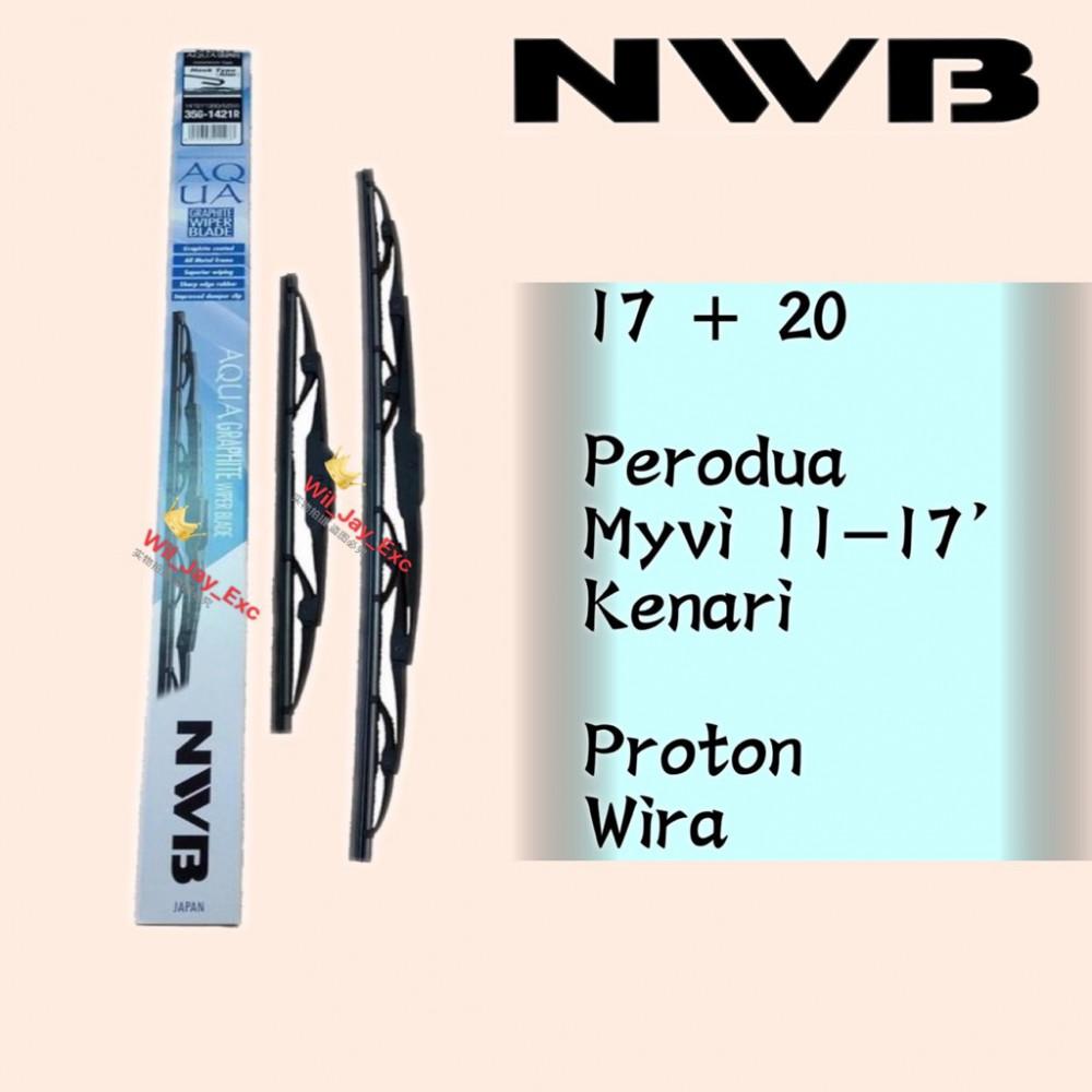 "NWB GRAPHITE WIPER BLADE AQUA JAPAN (17""+20"") (WIRA,KENARI,MYVI)"