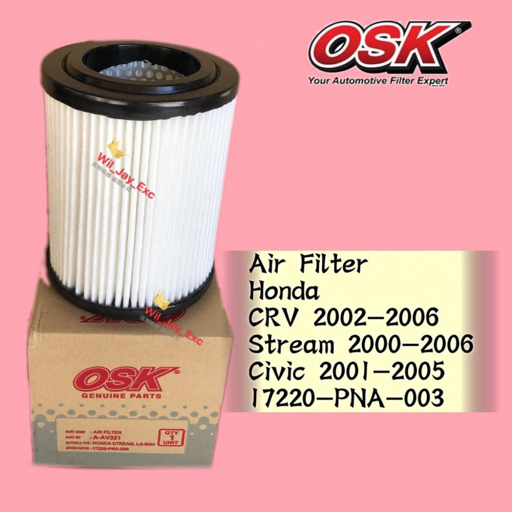 OSK AIR FILTER A-AV321 HONDA CRV CR-V 2002-2006, STREAM 2000-2006, CIVIC 2001-2005