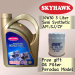 3 LITER SKYHAWK 10W30 SEMI SYHTHETIC ENGINE OIL FREE OSK PERODUA OIL FILTER