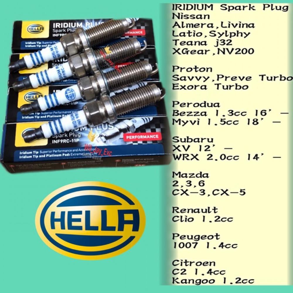 HELLA INF9RC-11p IRIDIUM SPARK PLUG NISSAN ALMERA,LATIO,SYLPHY,TEANA,XGEAR,LIVINA,NV200