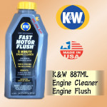 K&W FAST MOTOR FLUSH 887ML 5 MINUTE ENGINE CLEANER , ENGINE FLUSH KW
