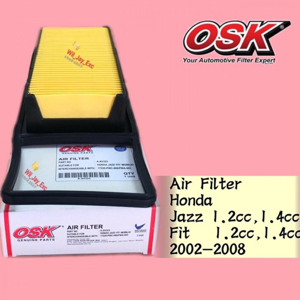 OSK AIR FILTER A-AV323 HONDA JAZZ , HONDA FIT 1.2cc, 1.4cc 2002-2008