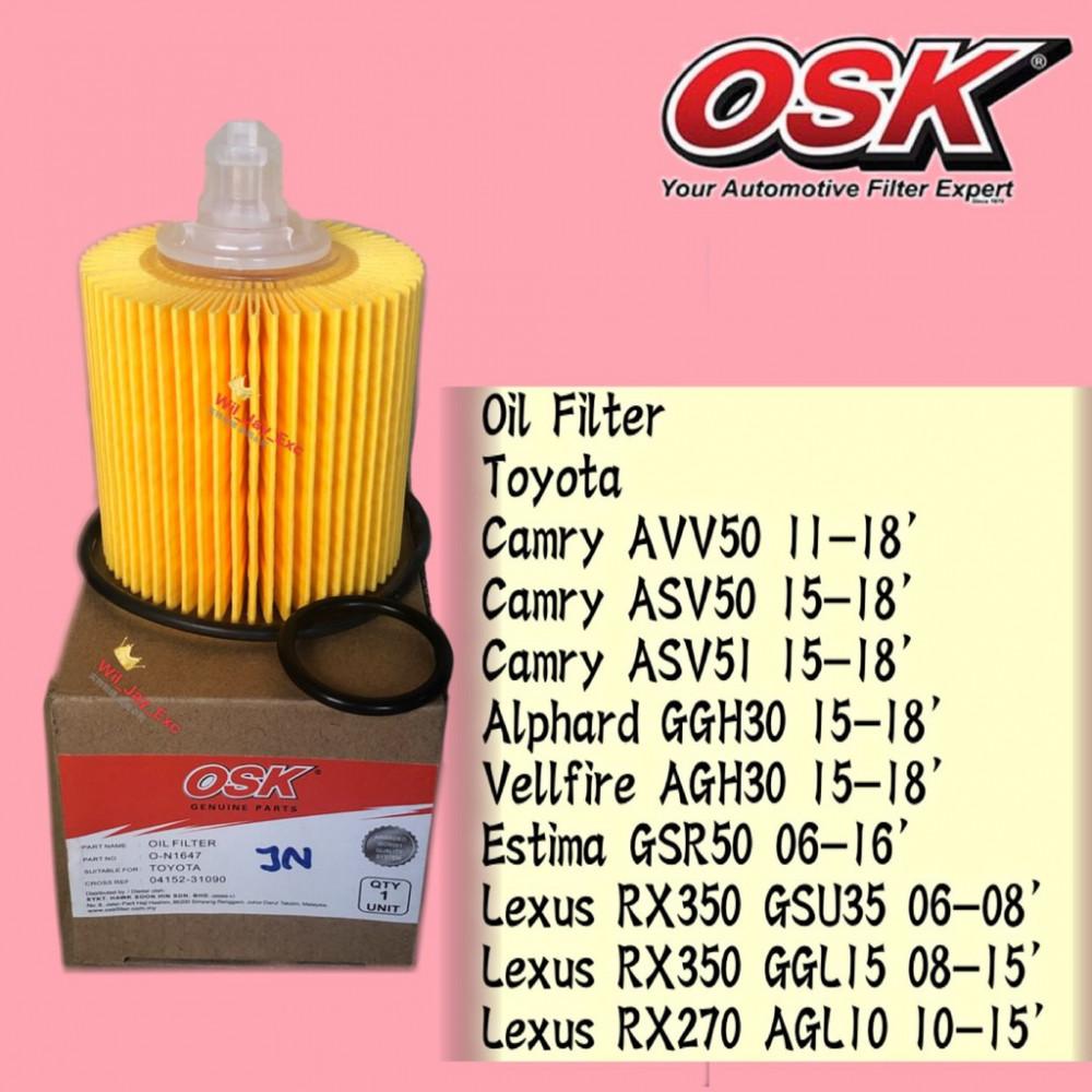 OSK OIL FILTER O-N1646 CAMRY HYBRID,VELLFIRE,ALPHARD 3.5,ESTIMA,LEXUS,ALTIS 2017