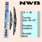 NWB GRAPHITE WIPER BLADE AQUA JAPAN 14 + 20 VIOS 02-07, KEMBARA, GETZ