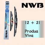 "NWB GRAPHITE WIPER BLADE AQUA JAPAN (12""+21"") VIVA"