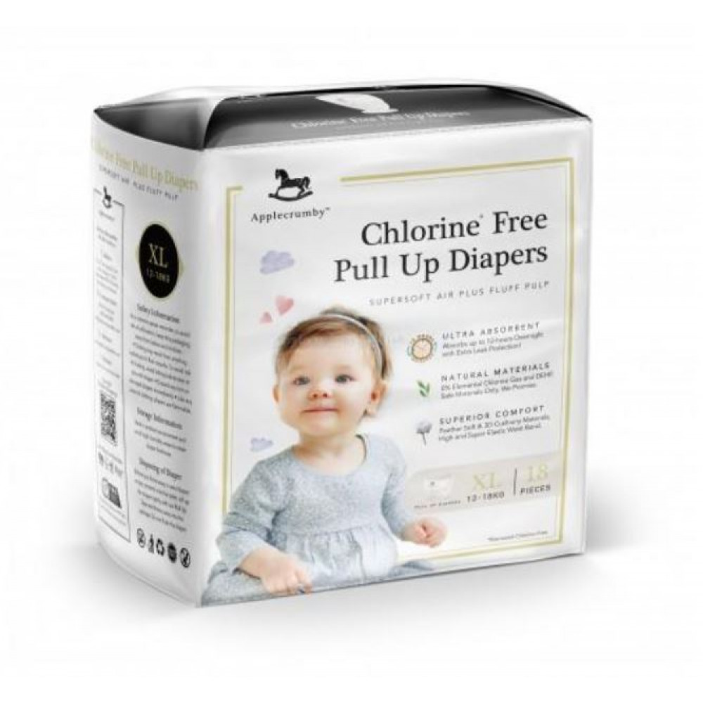 Applecrumby & Fish Chlorine Free Premium Baby Pull Up Diaper  XL18 x 1