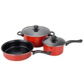image of Basic Wok Pan Pot Set 3 in 1 (5 Pcs) - Red/Blue