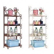 image of European Home Design 4-Tier Metal Storage Shelf - White/Brown