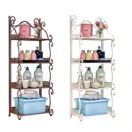 image of European Home Design 4-Tier Metal Storage Shelf - White/Brown